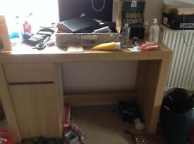 Oak desk with side cupboard and draw