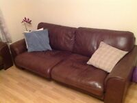2 and 3 seater brown leather sofas free to good home, collection only