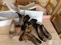 4 pairs shoes bronze.beige black leather black with zips in back black suede flats £10 the lot.