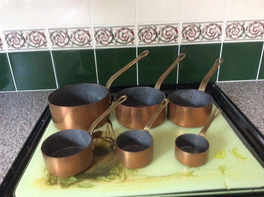 Vintage French copper saucepans (set of 6 )