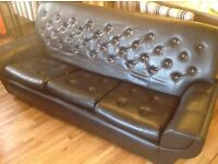 Used black Eco- leather matching 3 seater sofa and armchair