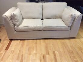 Sofa bed loose washable cream covers. Good quality mattress, little used.