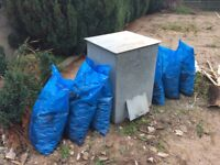 Galvanised Steel Coal Bunker plus 6 bags of coal.