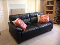 3 seater and chair .italian soft Leather .excellent condition .black