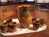 Majolica Corn Cob Pitcher and 6 Cups
