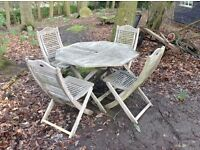 Teak garden set table four chairs patio terrace