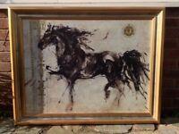 MARTA GOTTFRIED LEPA ZENA QUALITY FRAMED HORSE PICTURE 46 X 35 INCHES