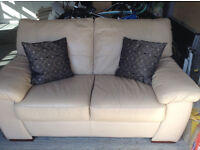 DFS LEATHER TWO SEATER CREAM SOFA