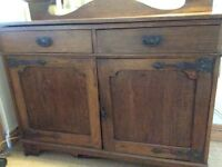 Arts & Crafts dark oak sideboard, good condition for age.