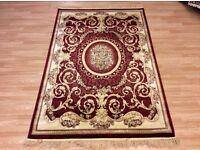 Large rug Burgundy cream gold 120x170cm