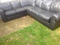 Black 6 seater corner sofa