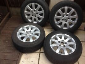 Vw alloys x4 with tyres genuine Good tread you can see from photos