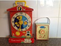 Vintage fisher price Teaching clock and Radio 1960s working