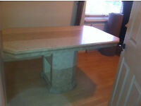 BEAUTIFUL NATURAL STONE TILED DINING TABLE in two tone cream colour rectangle in shape with pedestal