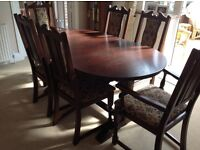 Jaycee dark oak dining table and 6 chairs