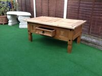 Pine solid corona coffee table with drawer
