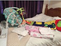 Cot bedding/mobiles/bouncy