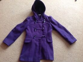 Girls purple winter duffle coat