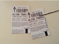 Two Alton towers tickets valid 31/10/2016 Halloween Scarefest