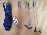 9 Golf Clubs, Bag and Balls