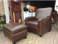 John Lewis Recliner Armchair and Footstool