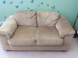 Two Seater Sofa, beige/mink velour, excellent condition