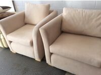 Luxury 3 piece lounge suite. Hardly used excellent condition. Chairs 34X35 inch Setee 34x67
