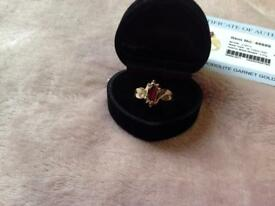 9K Rhodolite Garnet Gold Ring from gems t.v, roughly size L