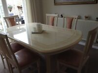 Italian table, 6 chairs and display cabinet