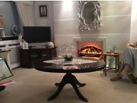 Mahogany tv corner unit, coffee table, dining table & chairs & display unit