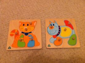 4 wooden peg puzzles (3 ELC) & Woden car ramp with 4 cars