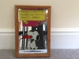Vintage Snoopy and Charlie Brown picture mirror size 33cm high X 23cm wide vgc £10 buyer collects