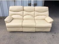 Cream 3 Seater Leather Recliner Sofa - Ex Display- £199 Inc Free Local Delivery