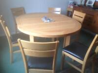 Dining table oak folding and 6 chairs