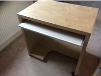 Ikea computer desk, maple effect, white pull out shelf for keyboard, good condition.