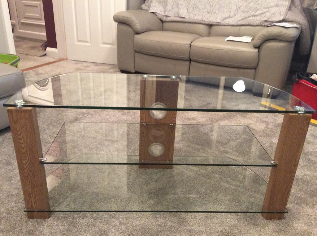 Oak & Glass TV Stand