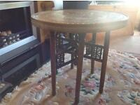Moroccan brass top foldable table