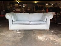 SOFABED, Chesterfield shape, lovely pale blue suede material.