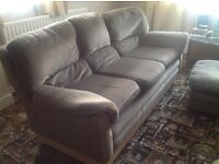 3 seater sofa, 2 armchairs & footstool