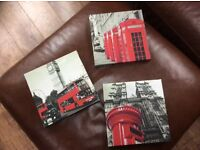 Small London themed canvases