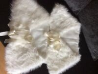2 ivory fur wraps