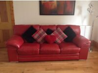 Red Real Leather 3 Seater Sofa