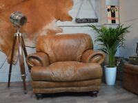 Large Vintage Leather Armchair Studs Tan