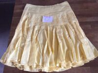 Ladies Yellow Flared New Look Skirt Size 14