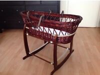 CLAIRE DE LUNE WICKER MOSES BASKET WITH A ROCKING STAND