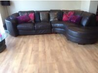 Large corner leather L shaped sofa £800