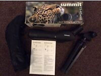 Summit spotting scope 15-45x60 with tripod boxed