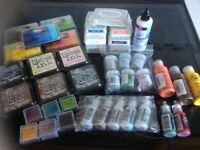 Crafters ink, glitter and acrylic paints