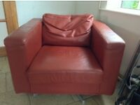 Pair of IKEA leather swivel armchairs