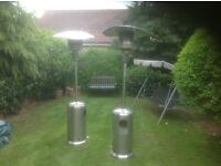 One propane gas patio heater. Includes empty gas bottle. Cosmetic damage but functioning.